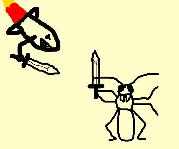 a sword wielding rocket hitting a cricket