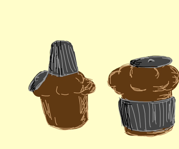 Muffins wearing garbage cans