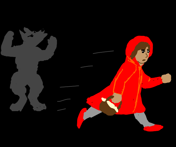 red riding hood running from the werewolf
