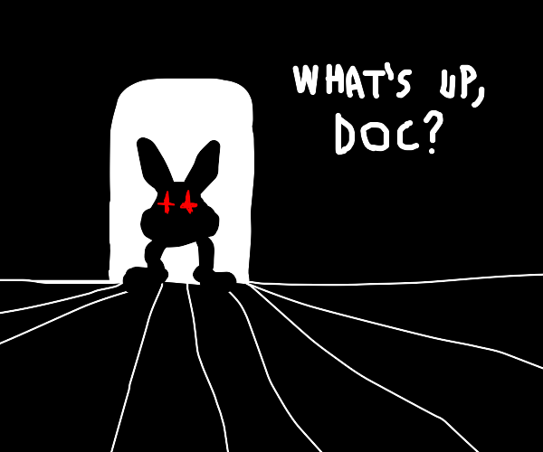 Bugs bunny but only legs and head (cursed)