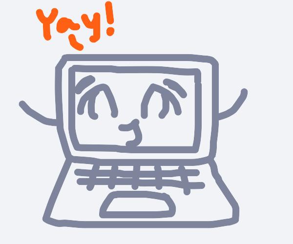 happy sentient laptop