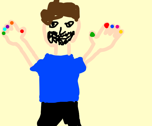 man has colorful nail paint