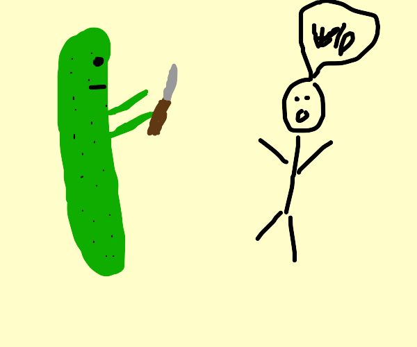 man about to be stabbed by cucumber
