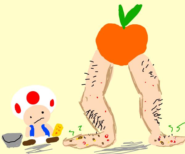 Toad has to clean Peach's feet