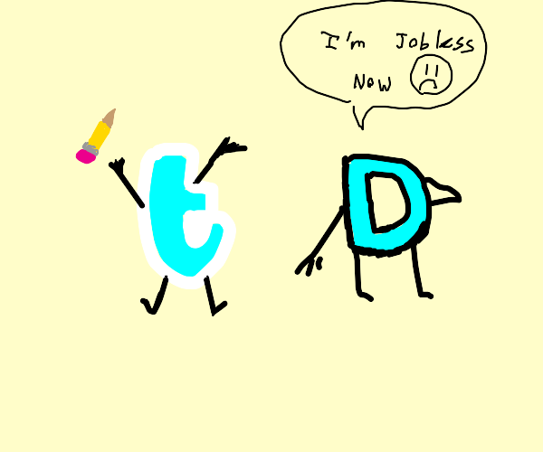 Drawception D with old Twitter logo