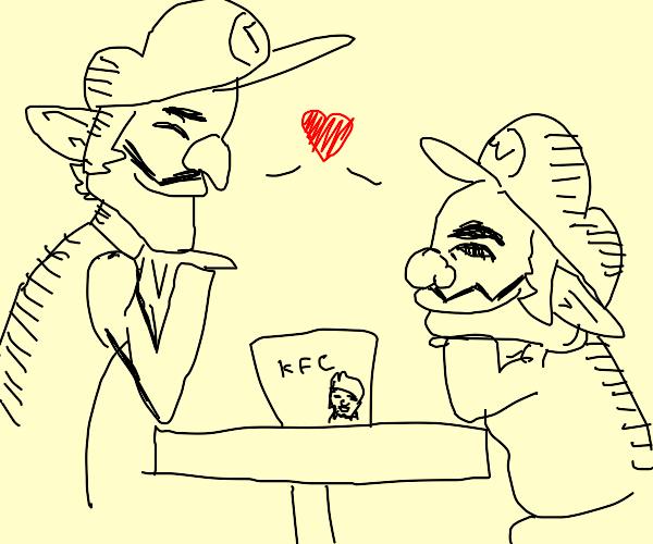 Wario and waluigi eating chicken in kfc