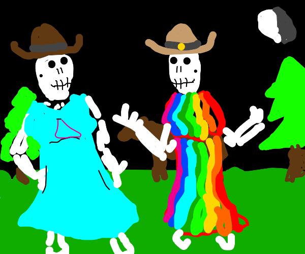 Lesbian Cowboy skeletons
