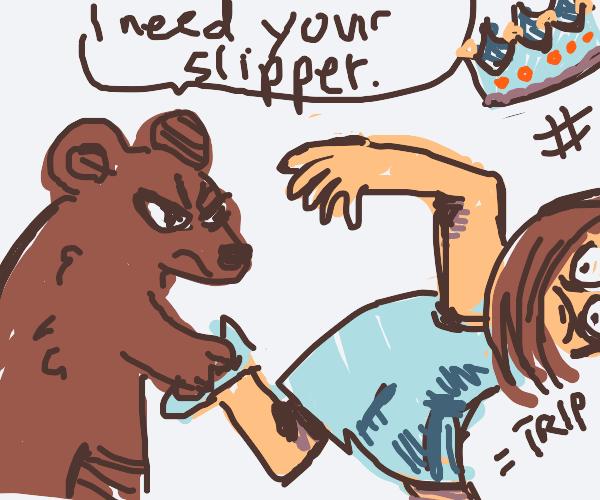 bear makes princess trip by stealing slipper