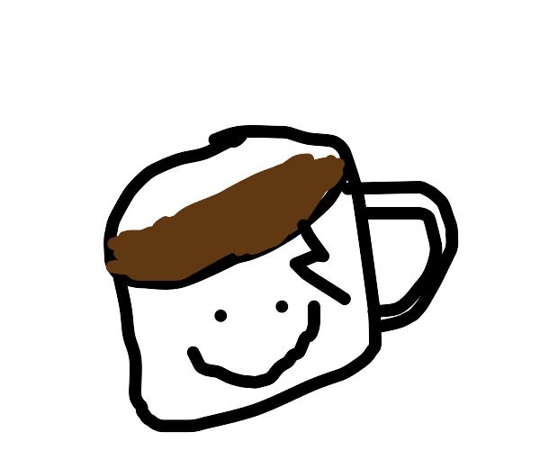 white mug with brown liquid inside :)