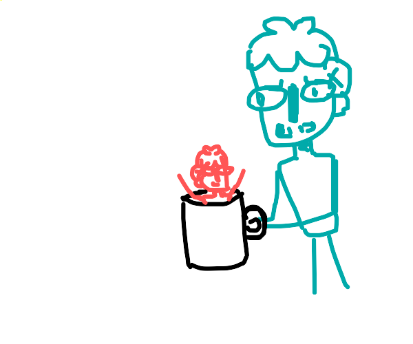 blue guy finds little red dude in his mug