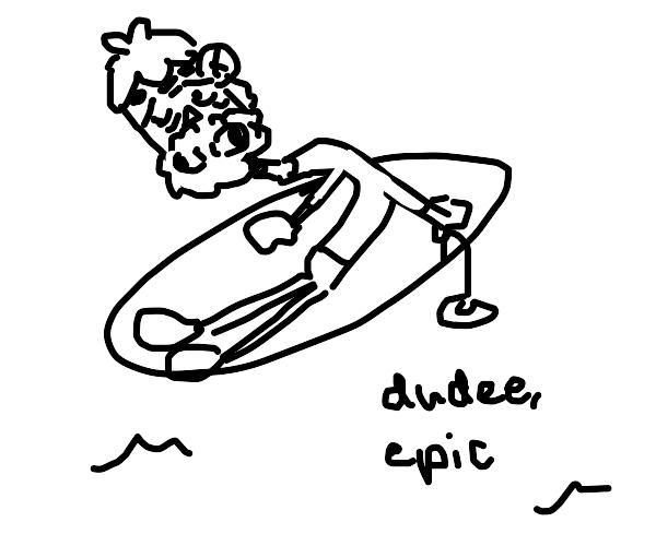 Old man surfing.