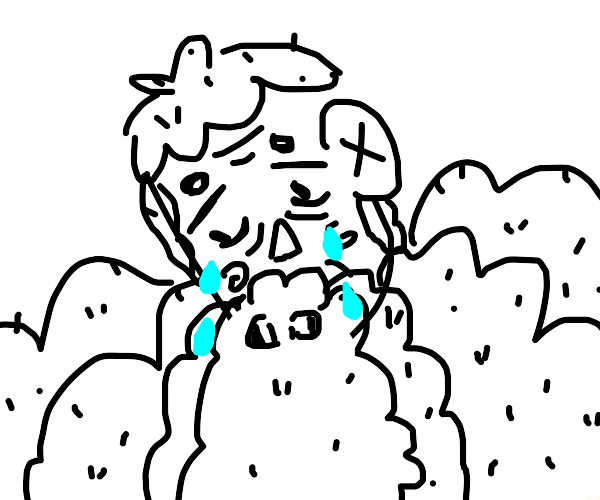 An old man with white hair and beard crying