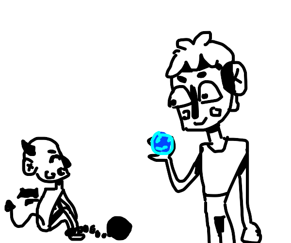 Guy with blue orb summons chained demon