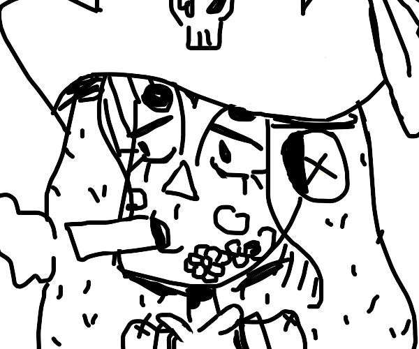 pirate with face tattoo smoking big cigar