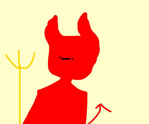 Um demonio com tridente