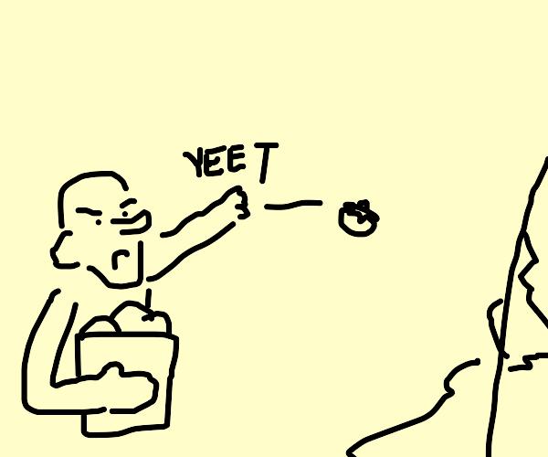 man throws tomatoes