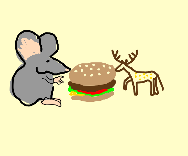 Big mouse and small deer share a burger