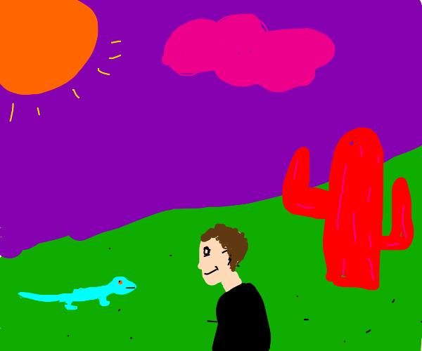 guy looking at lizard in desert w/ purple sky