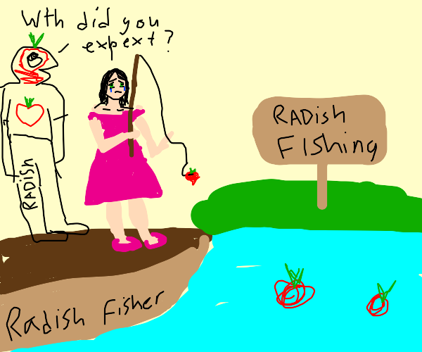 woman upset at the results of radish fishing