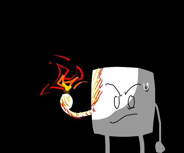 Marshmallows with torches