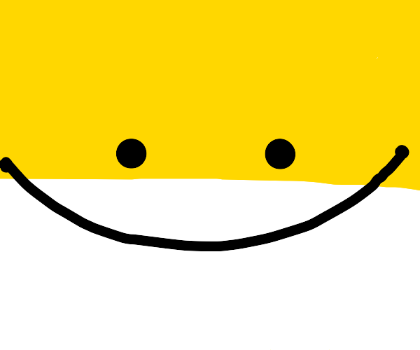 Smiling emoticon on yellow and white backgnd
