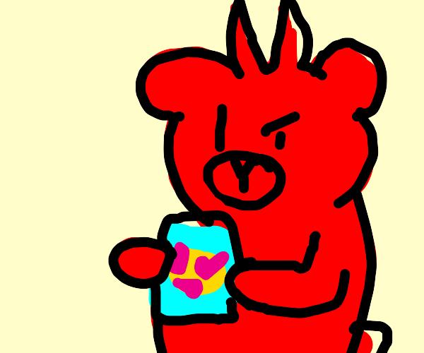 Demon bear with emoji cube