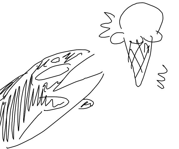 An orca reaching for a giant ice cream cone