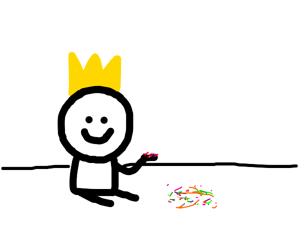little dude with crown playing with sprinkles