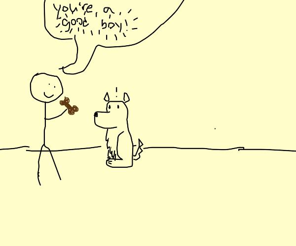 telling a dog that hes a good boy