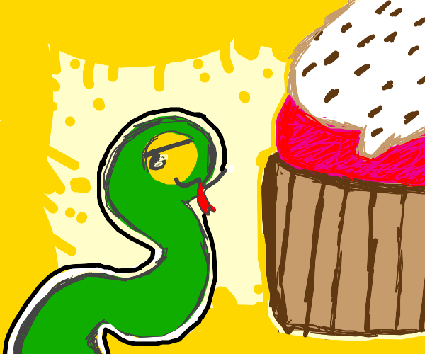 snake gives you giant cupcake :)