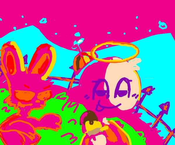 Evil Bunny Follows Innocent Child
