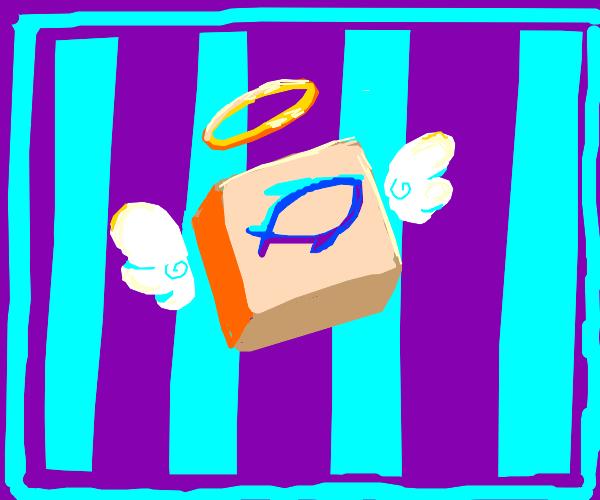 box w. fish symbol+wings+halo