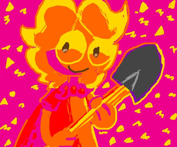 boy happy wearing a cape holdign a shovel