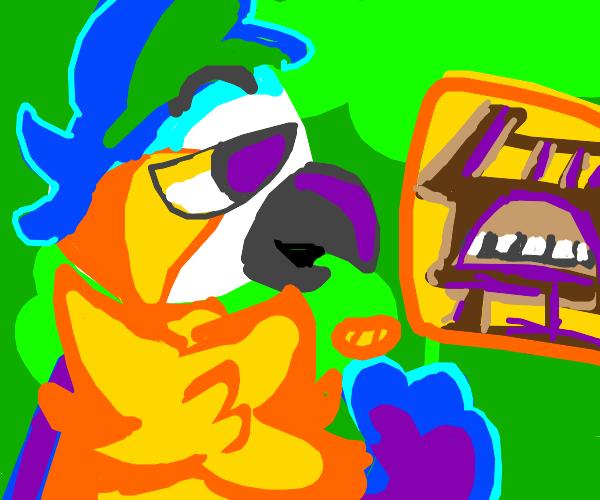amazonian bird talking about theater organs