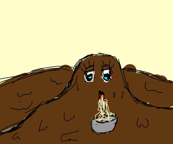 mud creature eating some ramen