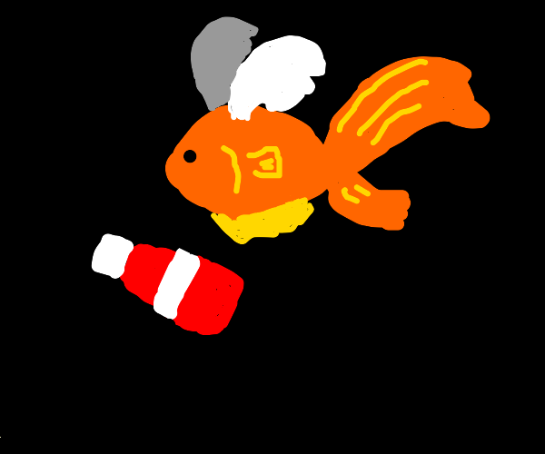 Goldfish with wings and ketchup