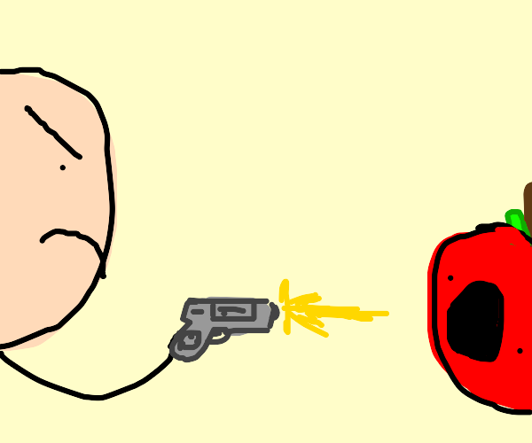 Man with a gun kills scared apple
