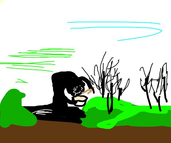 Swamp monster enjoying rice