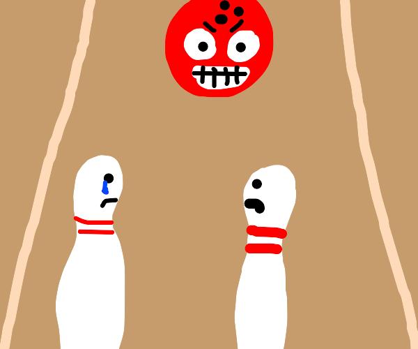 Angry bowling ball