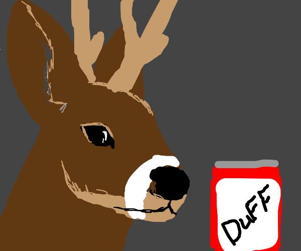 Buff deer drinking Duff beer