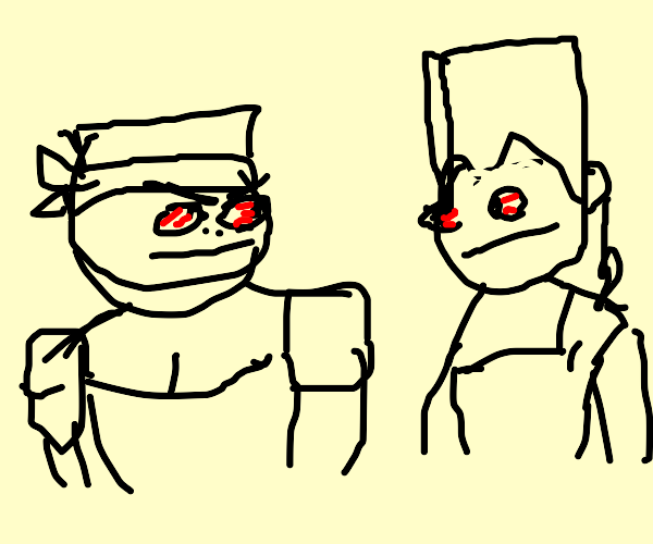 Carne and Polnareff have a staring contest