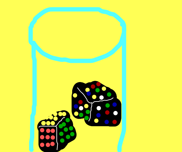 a glass full of rubik's cubes