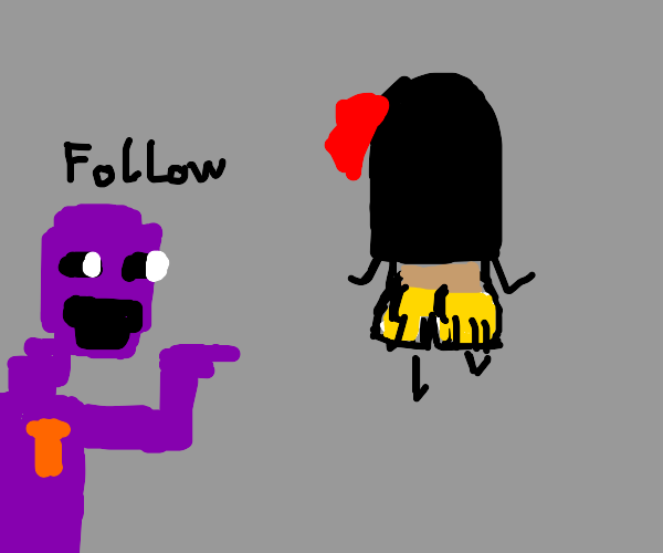 purple guy wants people to follow her