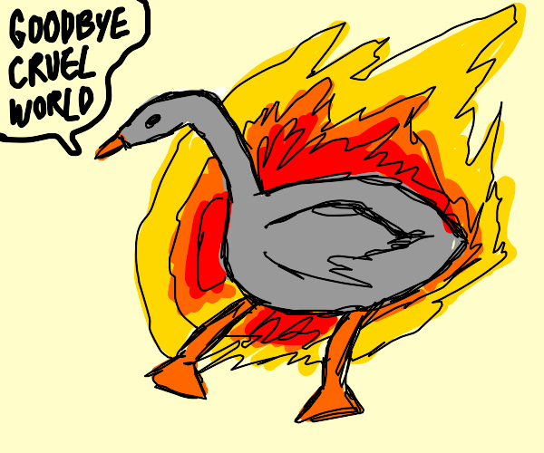 Burning goose suicide