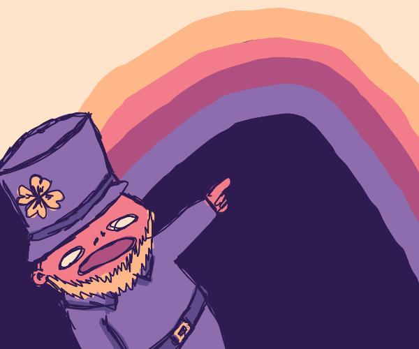 Leprechaun pointing at a rainbow