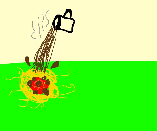 yummy floor spaghetti covered in coffee
