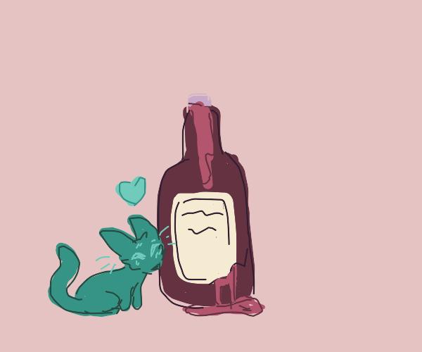 cat falls in love with leaking wine bottle