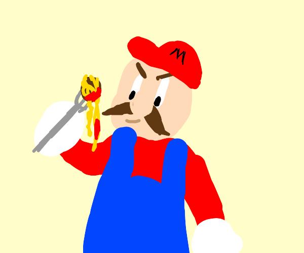 Mario shows off ultim8 Spaghetti & Meatballs