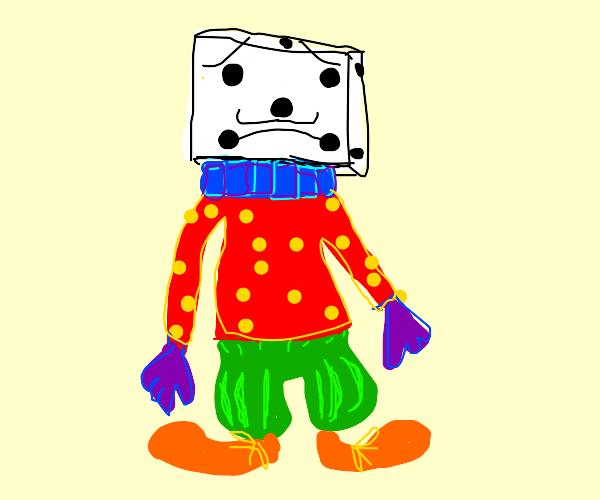 Dice head is a sad clown