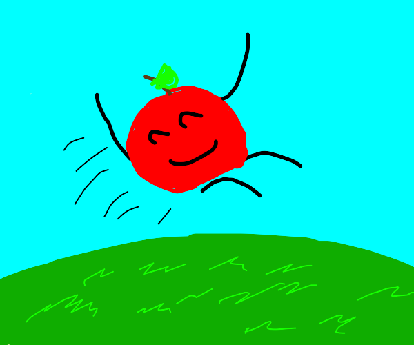 An Apple jumping over a Lawn